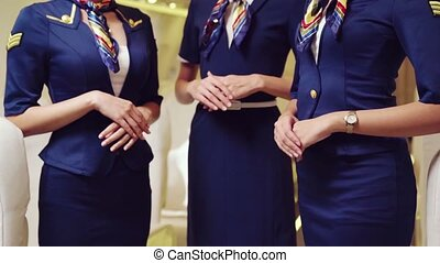 Group of cabin crew or air hostess in airplane . Airline transportation and tourism concept.
