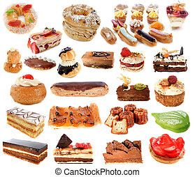 group of cakes in front of white background