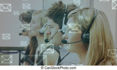 Group of call centre agent answering messages