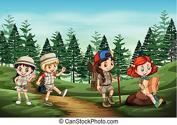 Group of camping kids in nature