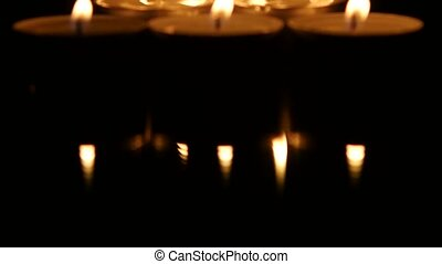 Group of candles on the table. Movies top down - Candles...