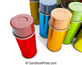Group of cans of spray paint. Cans of paint of different colors on a white background