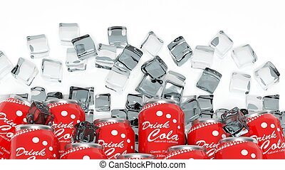 Group of cans with cola in ice cubes isolated on white