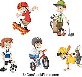 cartoon boys - Group of cartoon boys playing various sports