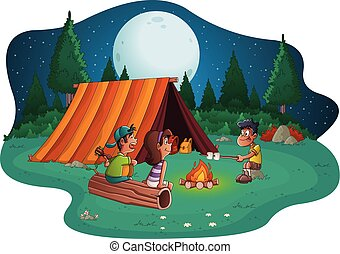 Group of cartoon children around a campfire. Camping with kids and tent.