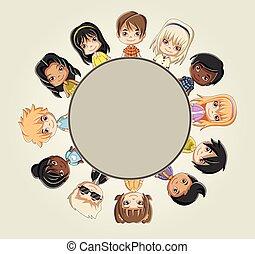 Group of cartoon children.