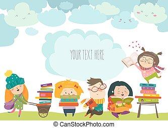 Group of cartoon children reading books
