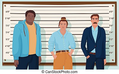 Group of cartoon criminal person standing at police lineup vector graphic illustration. Crime mafia dangerous people during identity parade. Man and woman malefactor or robbery suspects