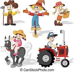 cartoon farmers working