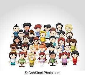 Group of cartoon people