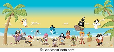 cartoon pirates - Group of cartoon pirates with funny...