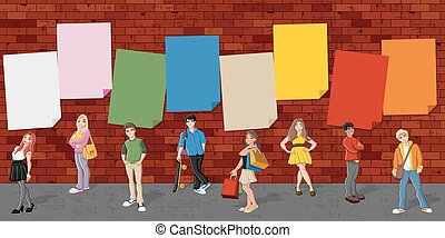 Group of cartoon teenagers in front of red brick wall...