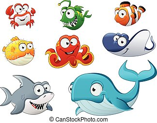 Group of cartoon underwater animal.