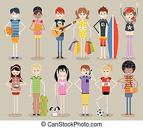 Cool teenagers. - Group of cartoon young people. Cool ...