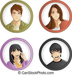 Teenagers. - Group of cartoon young people. Teenagers.