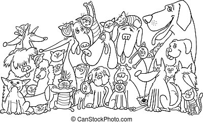 group of Cats and Dogs for coloring - illustration of group...