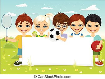 children with different sports equipment - group of...