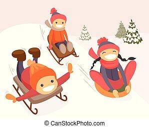 Group of caucasian kids enjoying a sleigh ride.