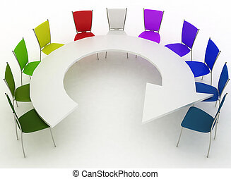 Group of chairs stands at table