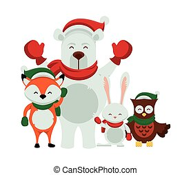 group of characters with christmas clothes
