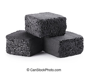 charcoal cubes - Group of charcoal cubes isolated on white ...