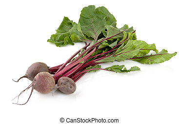 Group of chard with three beetroots on white background