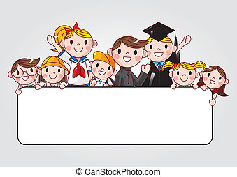 group of cheerful student holding a banner ad