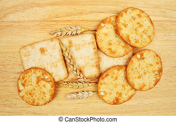 Group of cheese biscuits with wheat