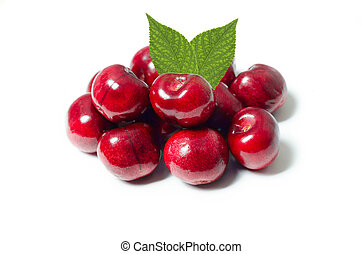 Group of cherries isolated on white background
