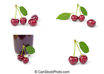 Group of Cherry over a white background