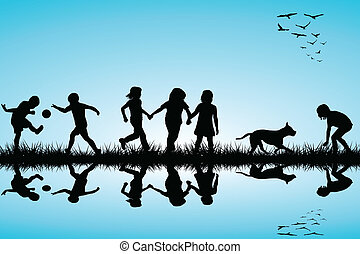Group of children and a dog playing outdoor