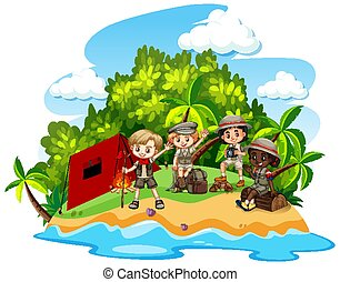 Group of children camping