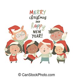 Group of children different nationalities in christmas costumes on white background
