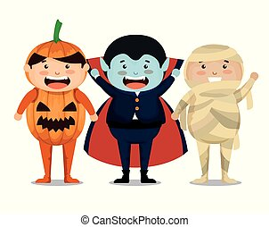 group of children dressed up in halloween vector...