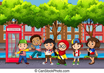 Group of children from different cultures