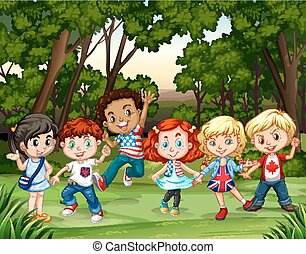 Group of children in the forest illustration
