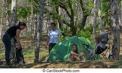 Group of children laying in tent