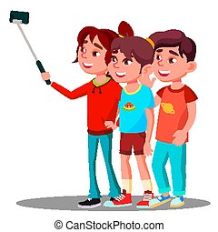 Group Of Children Make A Selfie Picture On Mobile Phone Vector. Isolated Illustration