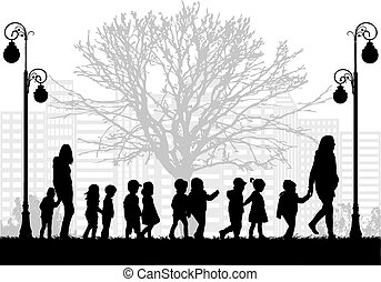 Group of children on a walk.