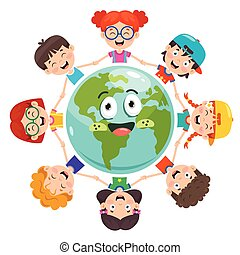 Group Of Children Playing On Earth