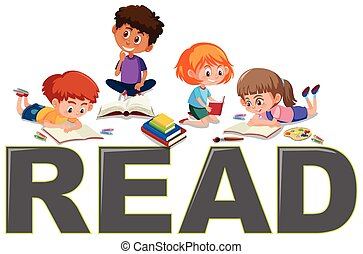 Group of children reading