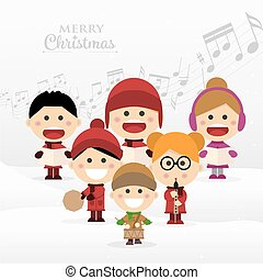 Group of children singing Christmas carols
