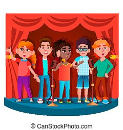 Group Of Children Singing Into The Microphone On Stage Vector. Isolated Illustration