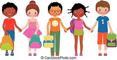 Group of children students with sch - Stock Vector cartoon...