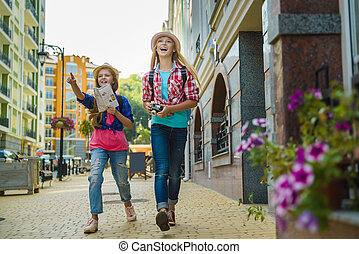 group of children travel in Europe. Tourism and Vacation concept