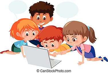 Group of children using computer