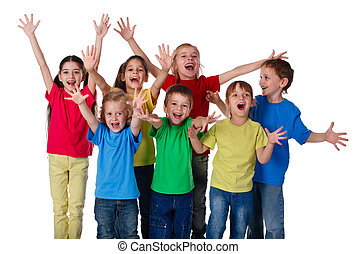 Group of children with hands up sign