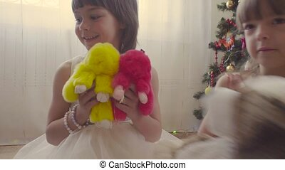 Group of children with stuffed toys - Group of children with...