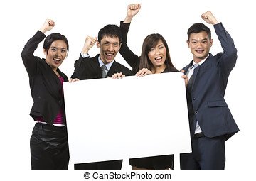 Group of Chinese businesspeople with a banner ad.