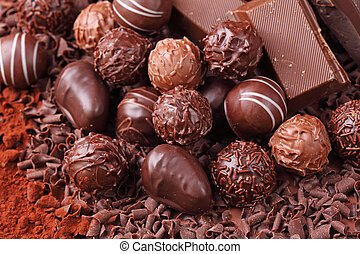 Group of chocolate close up